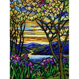 TAPESTRY CANVAS Landscape with Iris and Flowering Magnolia 30X40cm 2099J