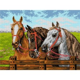 TAPESTRY CANVAS The Horses at the Fence 30X40cm 2133J
