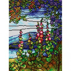 TAPESTRY CANVAS Landscape with Mallows after Louis Comfort Tiffany 30X40cm 2137J