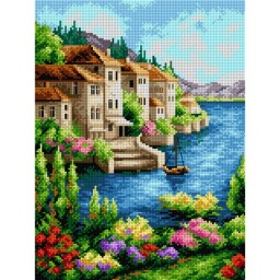 TAPESTRY CANVAS Landscape with Flowers and a Boat 30X40cm 2179J