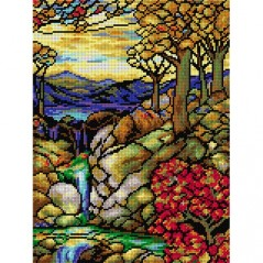 TAPESTRY CANVAS Autumn Landscape after L. C. Tiffany 30X40cm 2192J