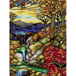 TAPESTRY CANVAS Autumn Landscape after L. C. Tiffany 30X40cm 2192J