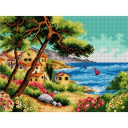 TAPESTRY CANVAS Sailboats on the Sea 30X40cm 2339J