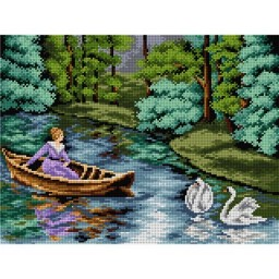 TAPESTRY CANVAS Summer Boating in the Park 30X40cm 2352J