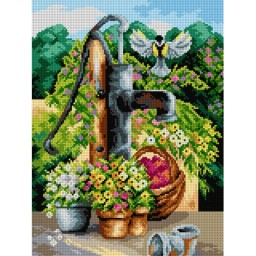 TAPESTRY CANVAS Landscape with Pump 30X40cm 2394J