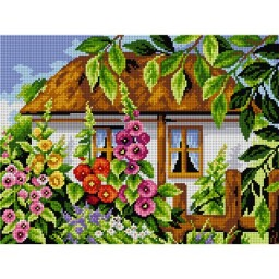 TAPESTRY CANVAS House with Mallows 30X40cm 2487J