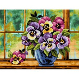 TAPESTRY CANVAS Bouquet of Pansies in a Blue Vase 30X40cm 2496J