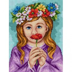 TAPESTRY CANVAS Girl with a Wheath on Head 30X40cm 2507J