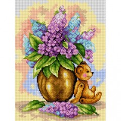 TAPESTRY CANVAS Teddy Bear in a Bouquet of Lilacs 30X40cm 2508J