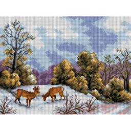 TAPESTRY CANVAS Deer on a Snow Clearing 30X40cm 2523J