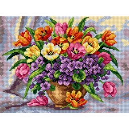 TAPESTRY CANVAS Vase with Spring Flowers 30X40cm 2524J