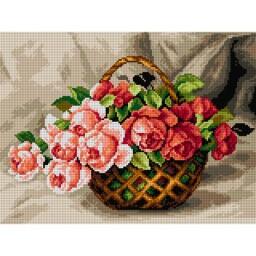 TAPESTRY CANVAS Basket of Roses 30X40cm 2569J