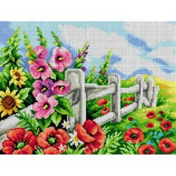 TAPESTRY CANVAS Flowers at the Fence 30X40cm 2583J