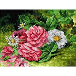 TAPESTRY CANVAS Peonies and Daisies 30X40cm 2601J
