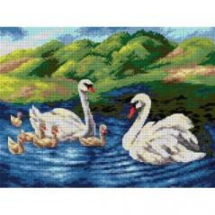 TAPESTRY CANVAS Swan Family 30X40cm 2616J