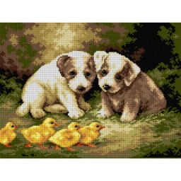 TAPESTRY CANVAS Puppies and Ducklings after Lilian Cheviot 30X40cm 2623J