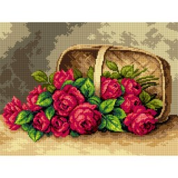 TAPESTRY CANVAS Basket of Red Roses 30X40cm 2633J