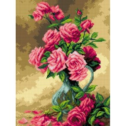 TAPESTRY CANVAS Pink Roses in Glass Vase after Albert Tubule Furcy de Lavault 30X40cm 2677J
