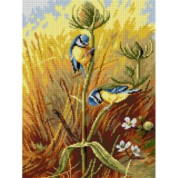 TAPESTRY CANVAS Bluetits on a Teasel after Archibald Thorburn 30X40cm 2723J