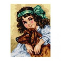 TAPESTRY CANVAS Girl with Dog after Frances Brundage 30X40cm 2728J