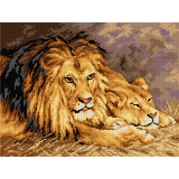 TAPESTRY CANVAS The Lions after Geza Vastagh 30X40cm 2782J
