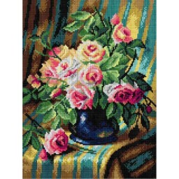 TAPESTRY CANVAS Still Life with Pink Roses 30X40cm 2899J