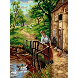 TAPESTRY CANVAS Young Lady at the Mill after Ernest Walbourn 30X40cm 2901J