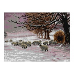 TAPESTRY CANVAS Sheep in a Snowstorm 30X40cm 2906J