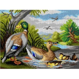 TAPESTRY CANVAS Ducks in a River 30X40cm 2955J