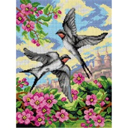TAPESTRY CANVAS Swallows 30X40cm 2988J