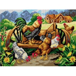 TAPESTRY CANVAS Rooster and Chickens 30X40cm 3033J