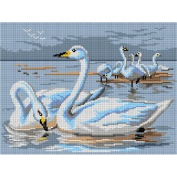 TAPESTRY CANVAS Swans 30X40cm 3056J