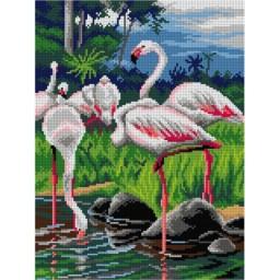TAPESTRY CANVAS Flamingos 30X40cm 3114J