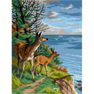 TAPESTRY CANVAS Two Deer at a Cliff 30X40cm 3137J