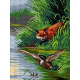 TAPESTRY CANVAS A Hunting Fox 30X40cm 3139J