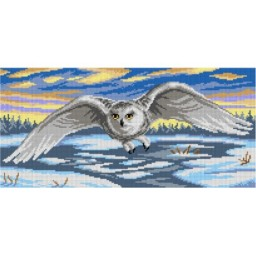 TAPESTRY CANVAS Snowy Owl on the Hunt 24X51cm 3157J