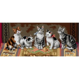 TAPESTRY CANVAS Cat Family after Carl Reichert 30X70cm 3136Q
