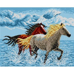 TAPESTRY CANVAS Horses in the Water 40X50cm 1388M