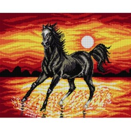 TAPESTRY CANVAS Sunset with a Horse 40X50cm 1471M