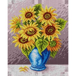 TAPESTRY CANVAS Bouquet of Sunflowers in a Blue Vase 40X50cm 1664M