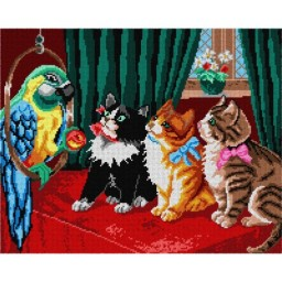 TAPESTRY CANVAS Cats Watching Parrot 40X50cm 1710M