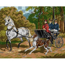 TAPESTRY CANVAS Horse-drawn Carriage Ride by J. Kossak 40X50cm 1961M