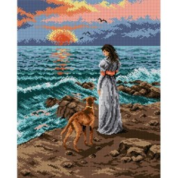 TAPESTRY CANVAS Walk on the Beach 40X50cm 1984M