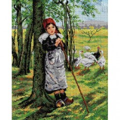 TAPESTRY CANVAS Girl Herding Geese 40X50cm 2083M
