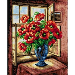 TAPESTRY CANVAS Poppies Bouquet 40X50cm 2134M