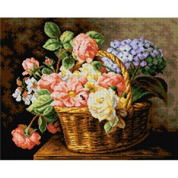 TAPESTRY CANVAS A Basket of Flowers after Antoine Berjon 40X50cm 2212M