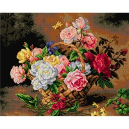 TAPESTRY CANVAS Basket of Roses after Medard 40X50cm 2234M
