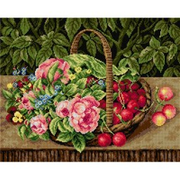 TAPESTRY CANVAS A Basket with Fruits and Flowers after C. Lovmand 40X50cm 2263M