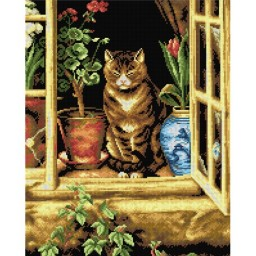 TAPESTRY CANVAS Cat in Cottage Window after Ralph Hedley 40X50cm 2264M