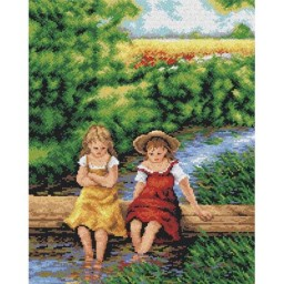 TAPESTRY CANVAS Girls on the River 40X50cm 2275M